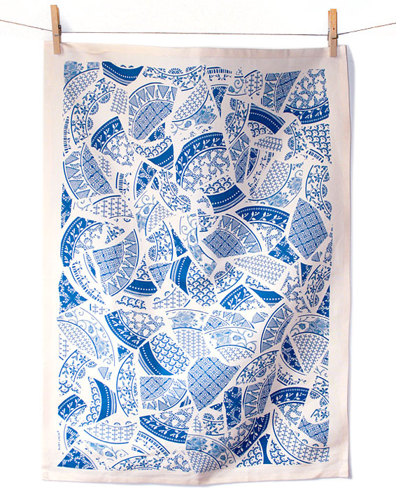 Susy Jack broken plate tea towel