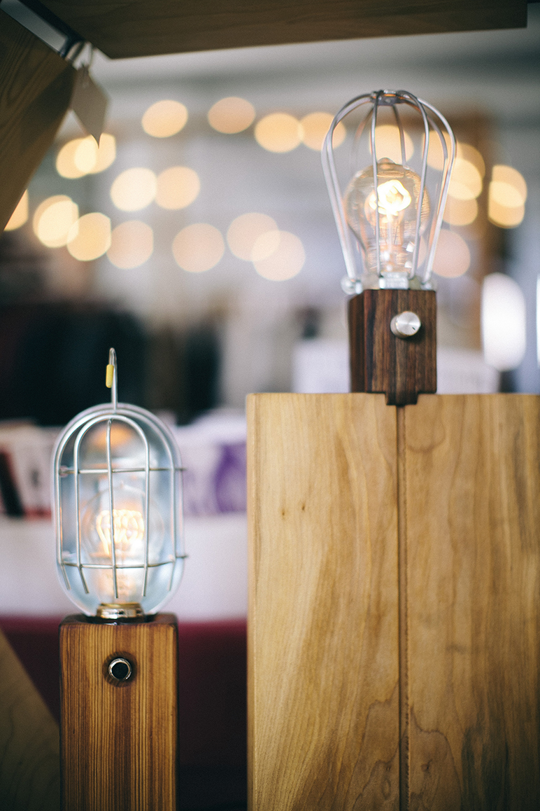 Light fixtures on display from Stéphane Hubert Design.