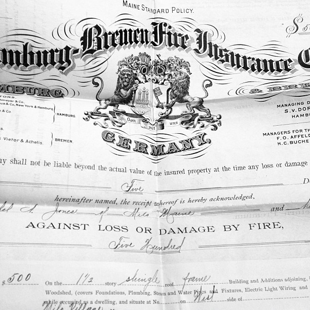 Fire insurance for $500 and $6 deductible on a 1.5 story shingle roof. No lightning coverage. 1904.