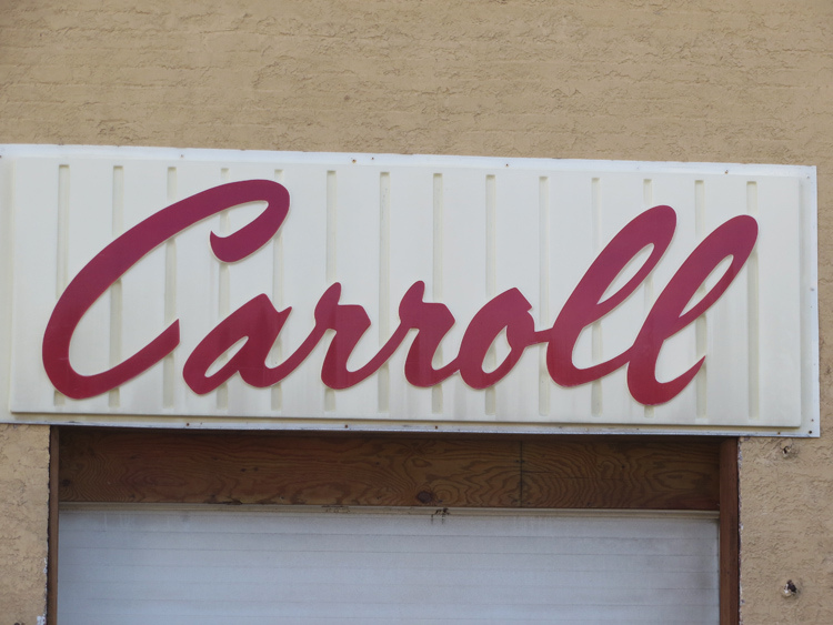 Unlike  Pecknel ,  Carroll  is happily connected and loving life. Not sure what's going on with that 2nd  l . He seems to be falling a bit. Poor guy. Such beautiful typography.