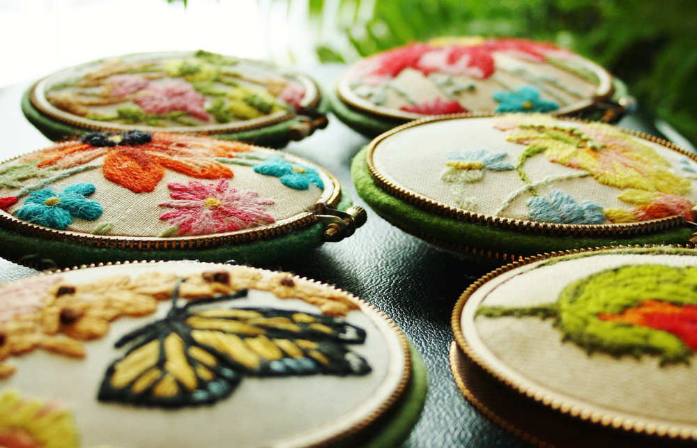 Pincushions made from crewel work pieces. By Woolly Fabulous.