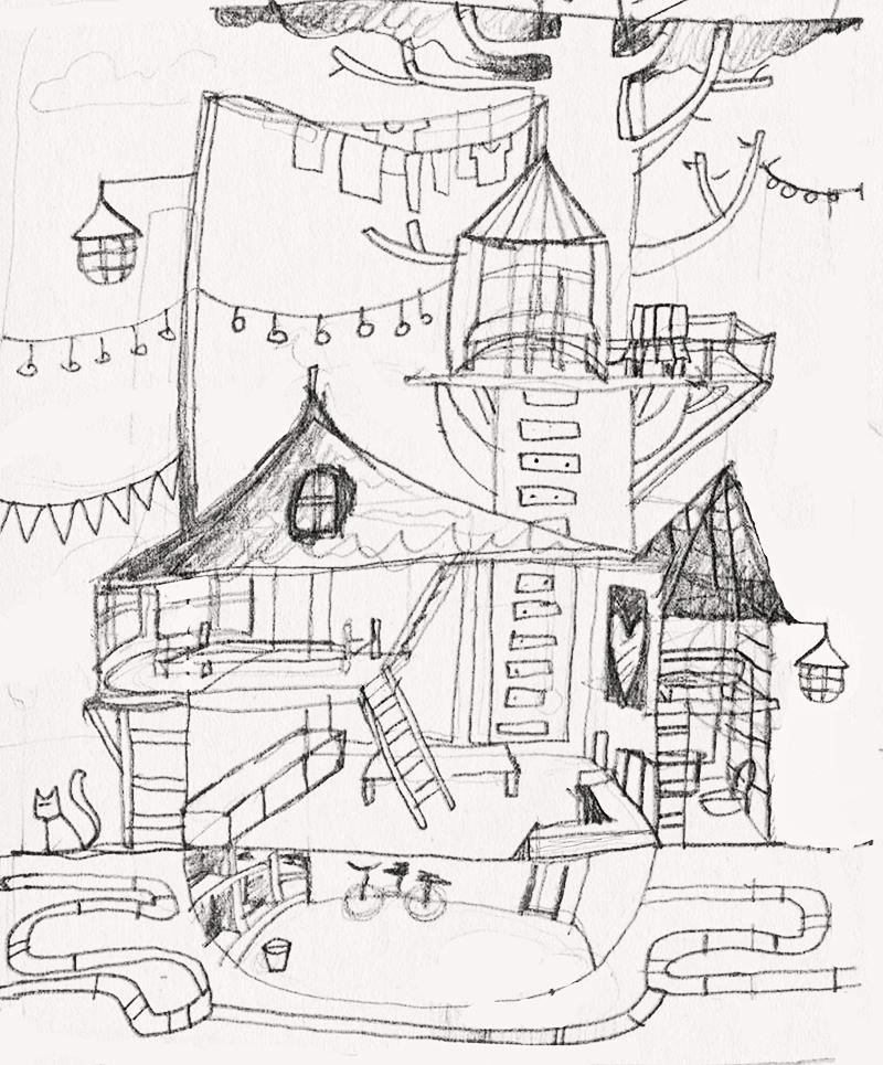Lea's sketch for her Work/Life illustration.
