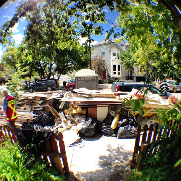 Wide angle view of the soggy stuff we brought to the curb.