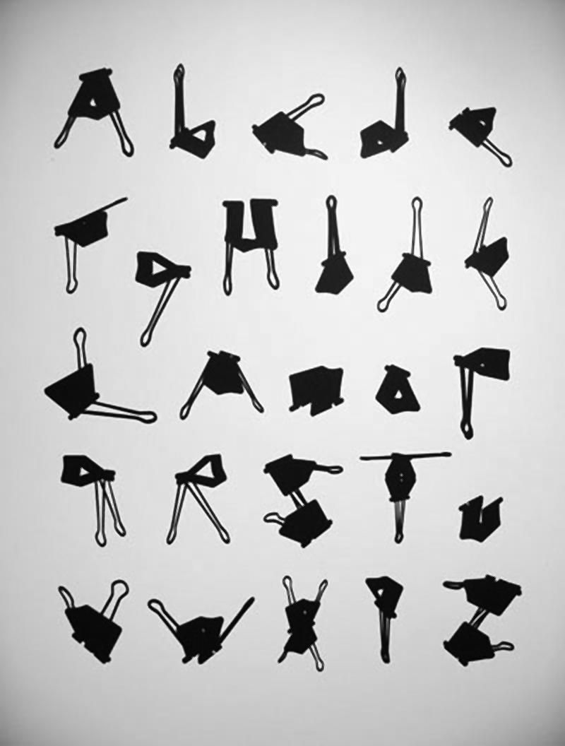 Dave Wood's bulldog clip alphabet.