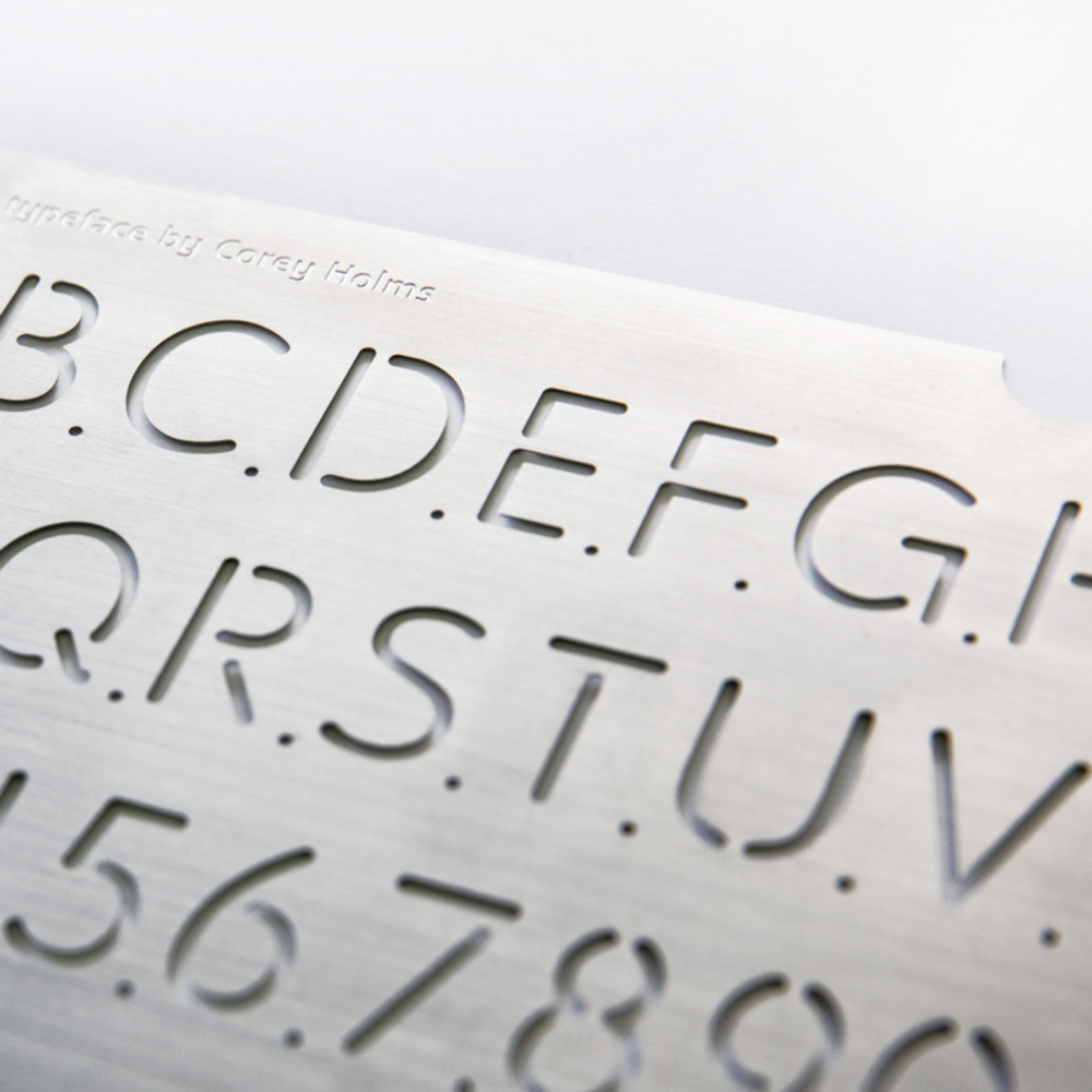 Ne10 is a typeface and physical stencil designed by Corey Holms