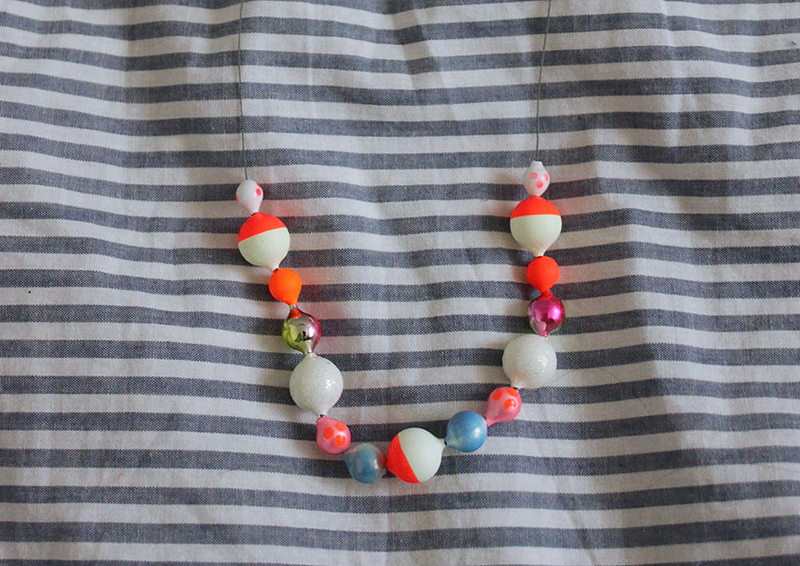 Angelina makes these cool necklaces made from fishing bobbers. They're available in her Etsy shop.