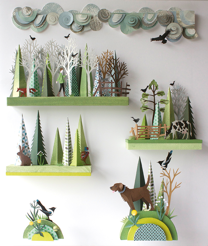 Helen Musselwhite's Work/Life 3 dimensional paper illustration.