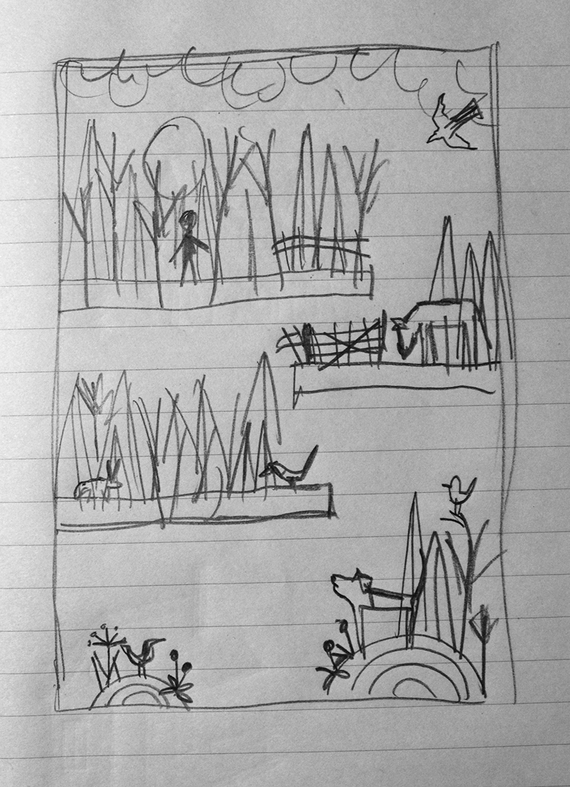 "Helen's initial sketches: ""The illustration will be on a white background and each area will be treated very much like a spot illustration. Together they tell the story of one of mine and Earls favourite walks on footpaths across the fields and the wildlife, and other dogs we meet. As it quite often rains here there will be some stormy looking clouds!"""