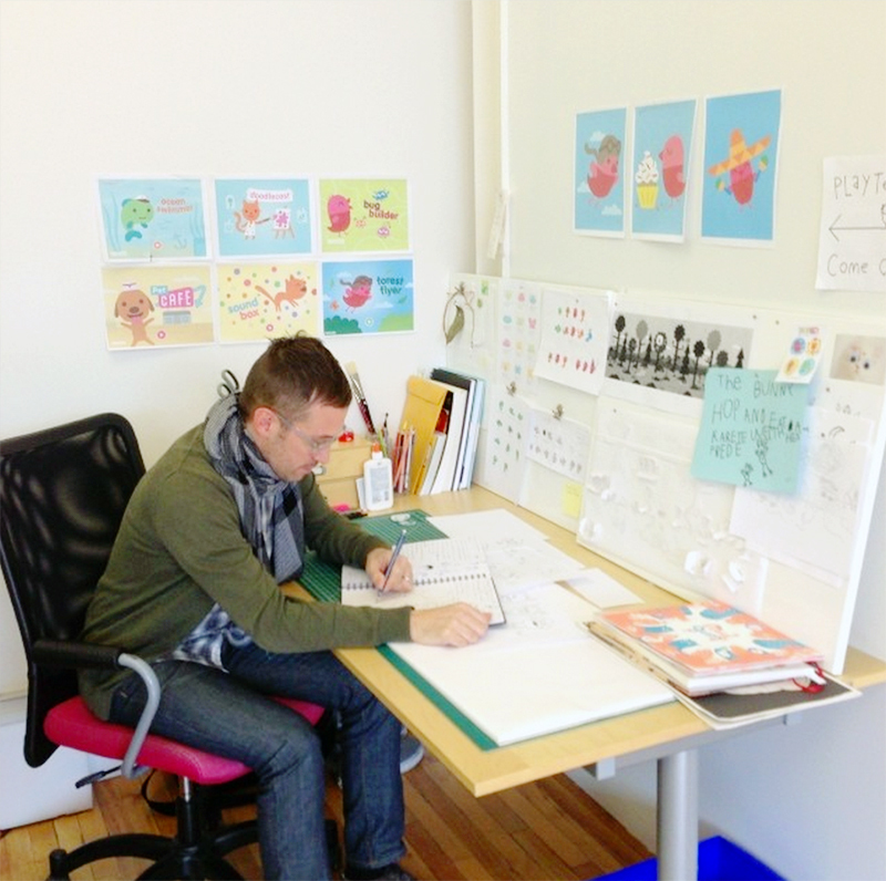 Aaron Leighton sketching characters for forthcoming Sago Sago apps.