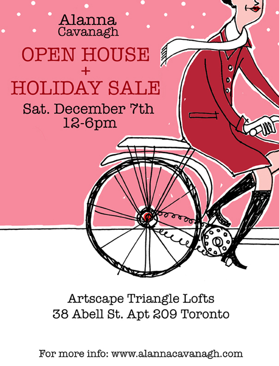 Alanna Cavanagh is having an open house studio sale in Toronto this weekend. She'll have beautiful silkscreen prints, greeting cards, refreshment and lots of fun to share!