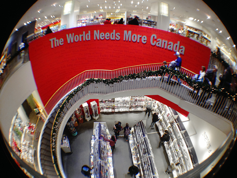 Fisheye view of the flagship Chapters store in Toronto.
