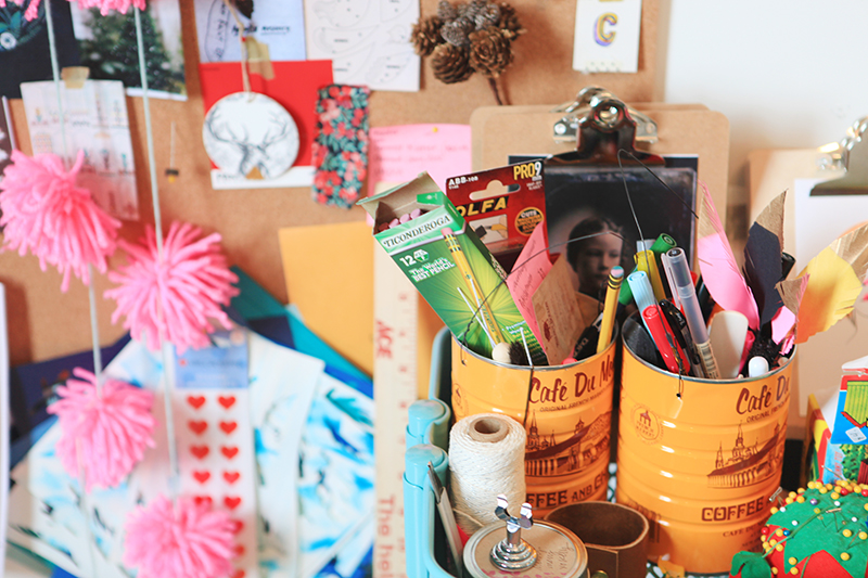 Props, projects and necessary tools of the creative and crafty trade.