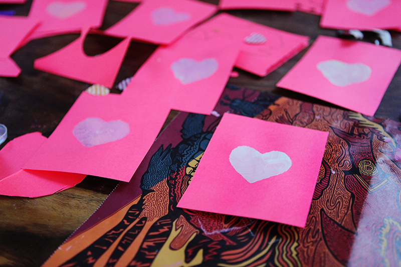 Finley and I endeavoured to make twenty or so Valentines for his classmates.