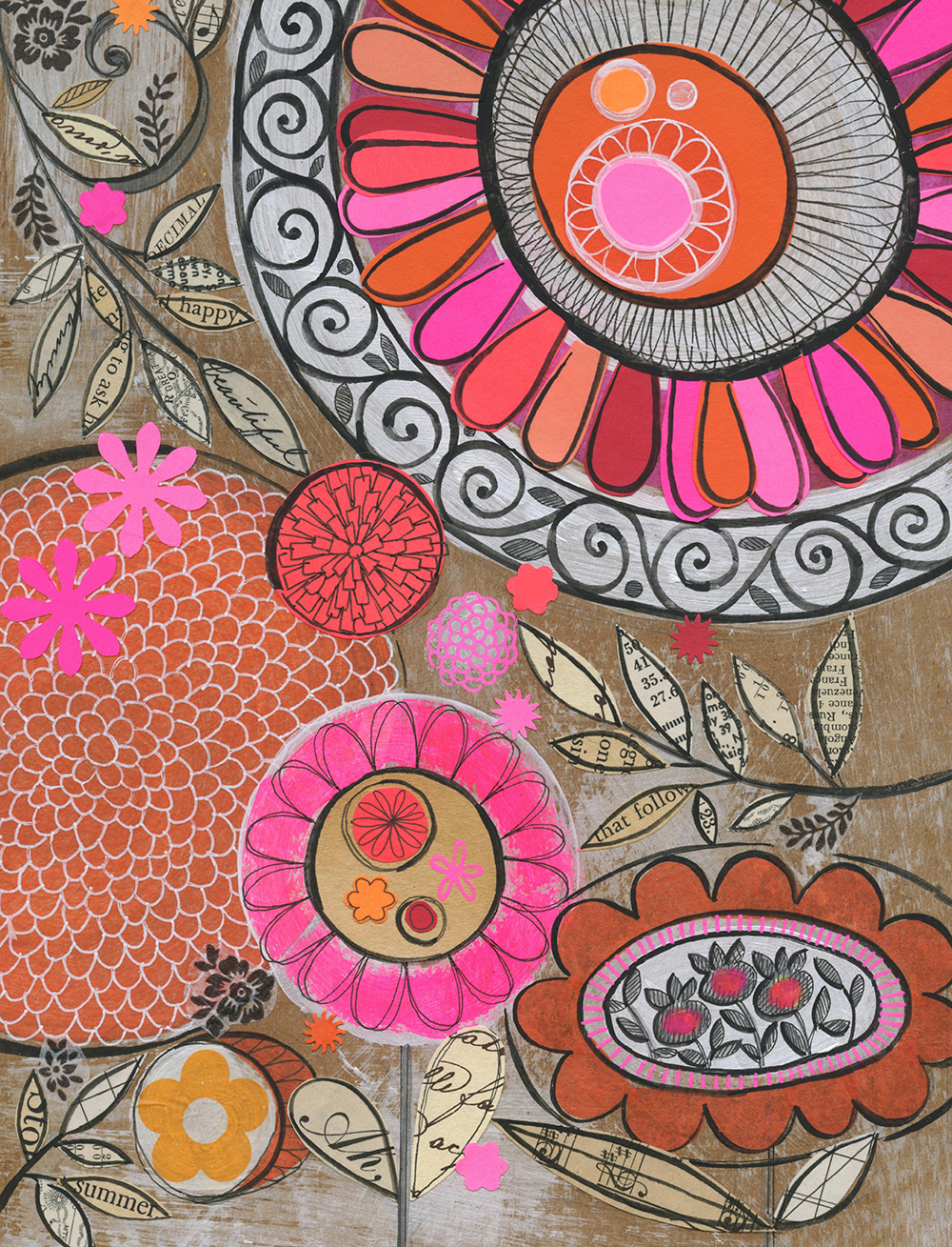 "Susan's print ""bold floral' is available in her Etsy shop."