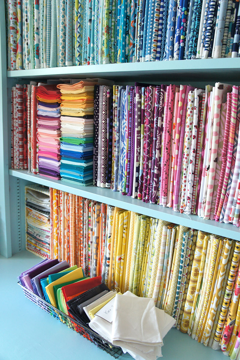 Angela Pingel's fabric stash.