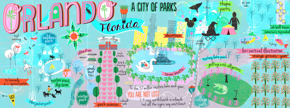 "Lori Weitzel Favourite Place: Orlando, USA ""57 Million People visit Orlando each year, and most just hit the amusement parks. This is a map of the other parks not to be missed."""