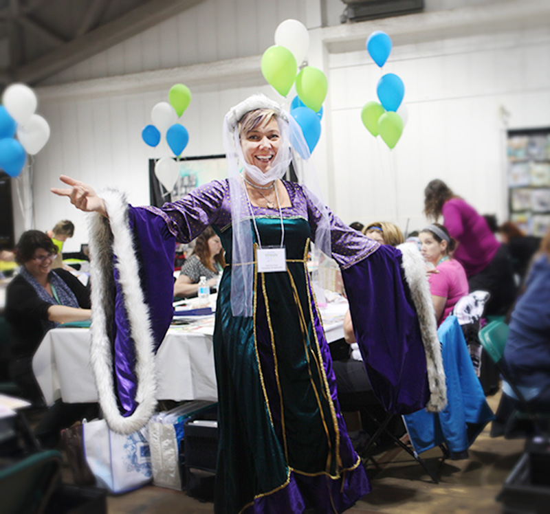 Katharina Doyle , co-founder and publisher of Canadian Scrapbooker is dressed to preside over the Carnival!