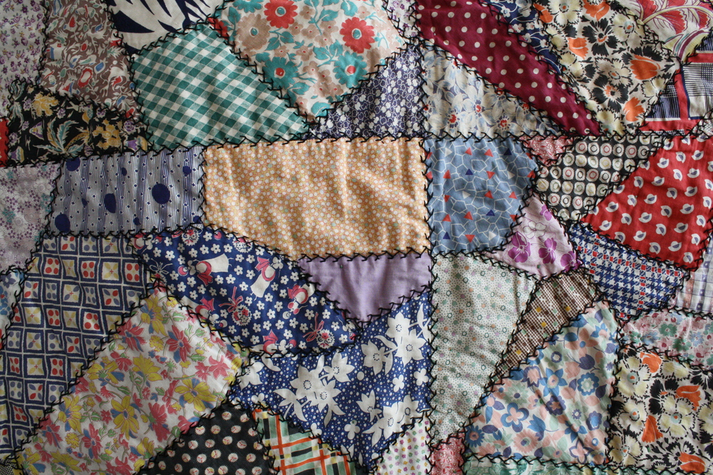 Vintage feed sack crazy quilt