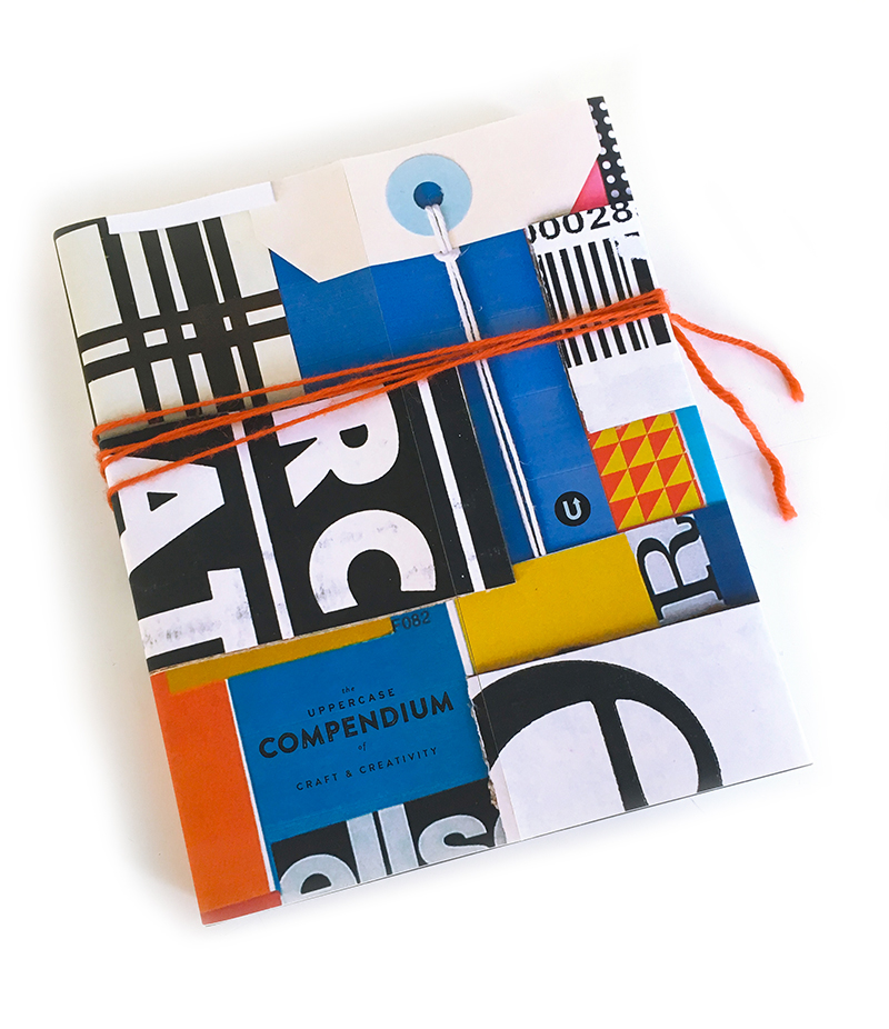 Illustrator Shelley Davies' typographic collage is another dust jacket. I love how her collage tag with string interacts visually with the yarn.