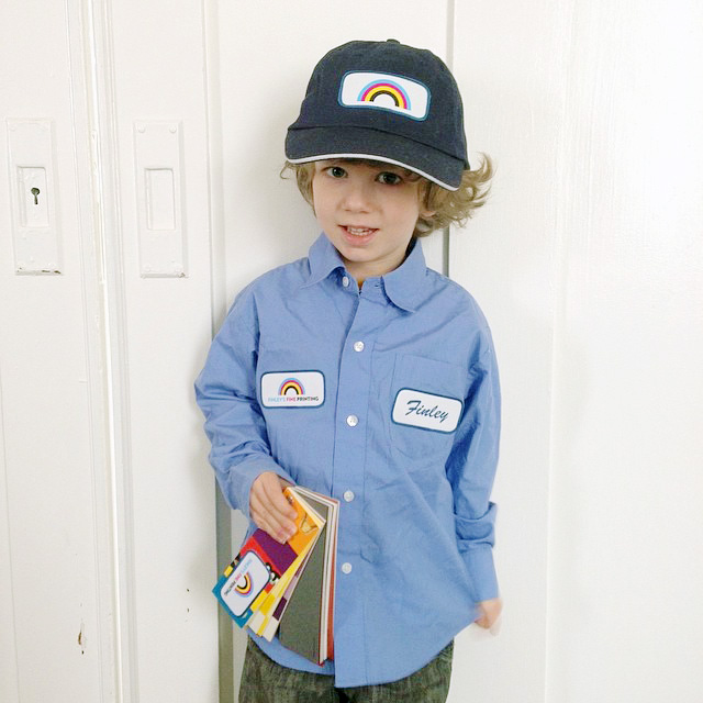 "for preschool career dress-up day, he went as a ""printer man"". oh, the cuteness!"