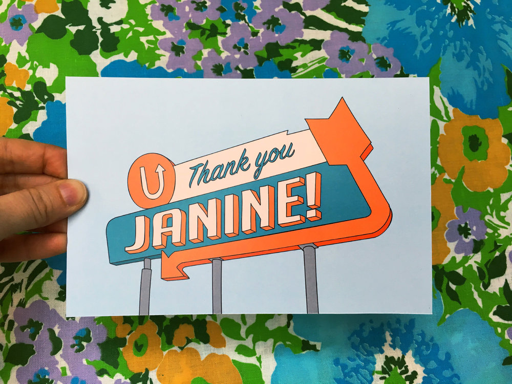 Catrina  sent me this lovely thank you note in the mail, a customized drawing of a vintage sign! Thanks, Catrina!