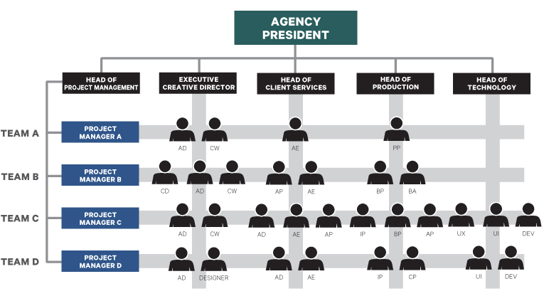 Example of a matrix structure which you may see in your agency. In this example, we show a strong project management team taking the lead as project managers of teams made up of people from different functions.