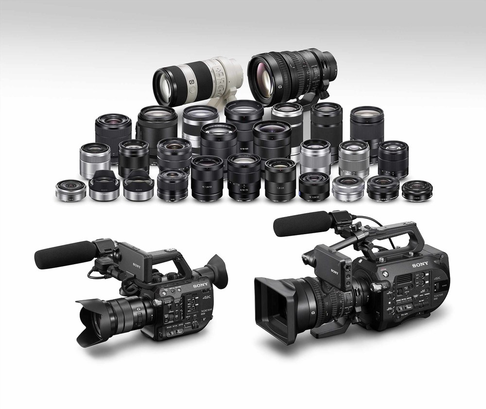 The new Sony PXW-FS5 shown next to the larger PXW-FS7 and family of Sony E-Mount lenses.