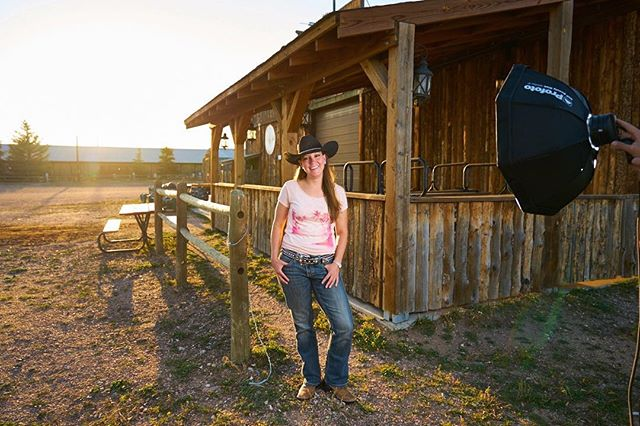 We had a wonderful time working with @bluestarautogroup this summer.  Here's a #bts image captured after our automotive shoot in Cheyanne, WY using #profotoglobal #OCF beauty dish and #B2 location kit.  When she isn't serving as a firefighter, Erin is a cowgirl for Frontier Days.  She makes it look so easy 😎 . #commercial #photography #profotousa #sony #gmaster #location #portrait #amvisualsdotcom