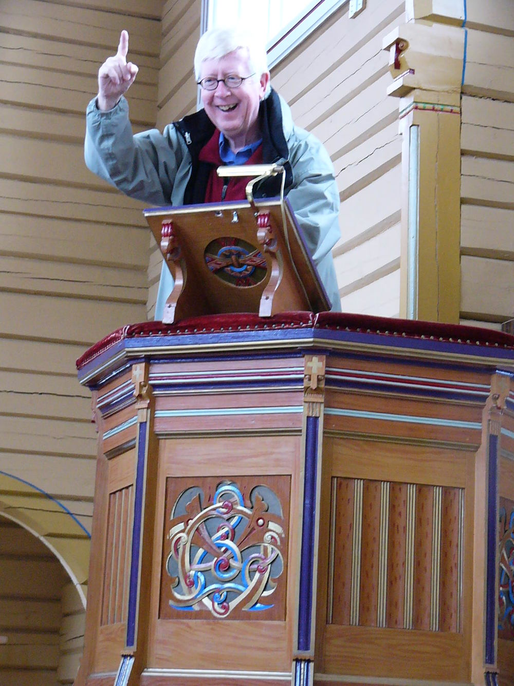 Ben practices his finger-wagging from this Finnish pulpit.