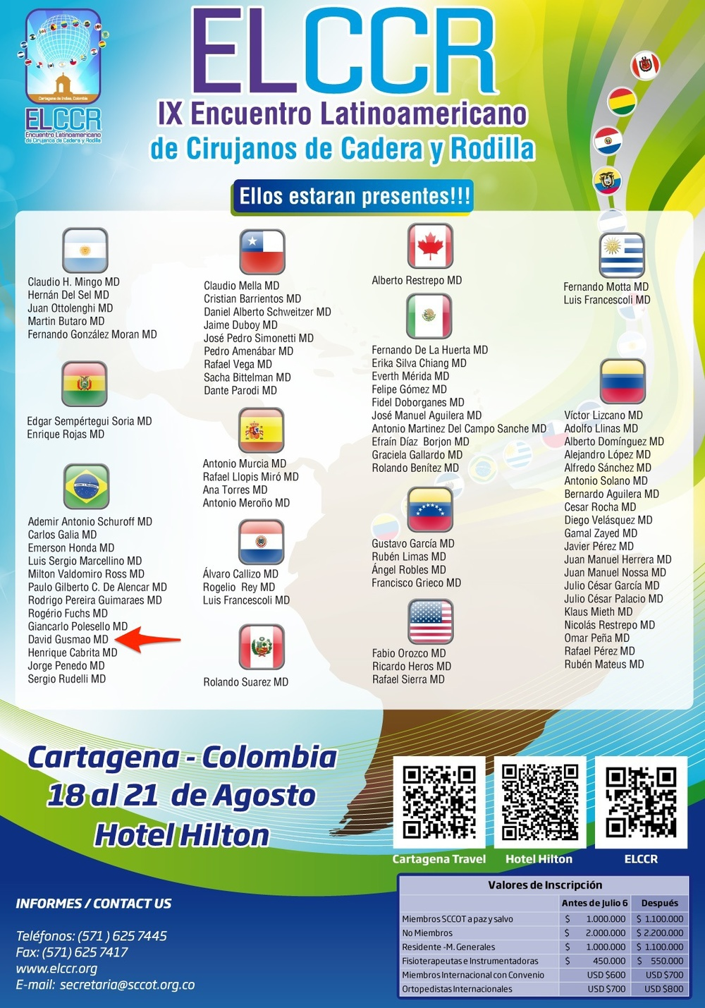 Lista dos convidados do evento