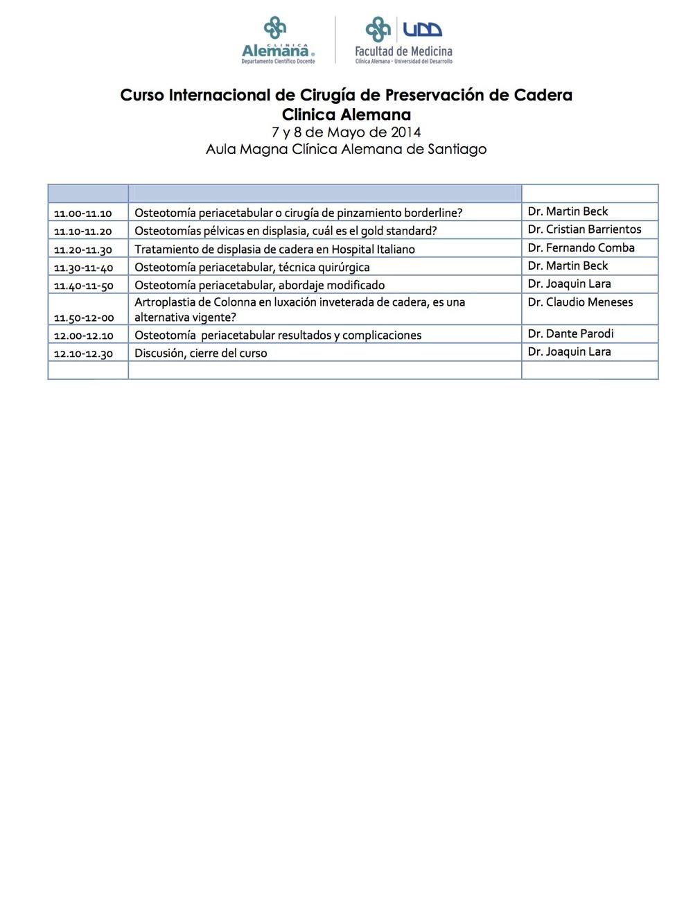 Curso Internacional de Cirugía de Preservación de Cadera 07 y 08 de mayo de 2014 Aula Magna Clínica Alemana de Santiago_3