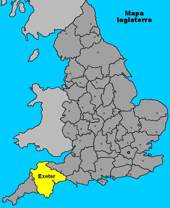 Mapa da Inglaterra - Cidade de Exeter em amarelo