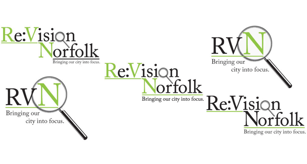 logo + icon variations for client: ReVision Norfolk, not-for-profit organization
