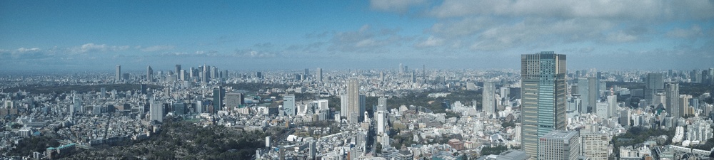 View from Mori Art Museum, Tokyo F/4.5, 1/900, ISO 200, +0.3 step, Pano Mode (first time I ever used this!). 23mm.