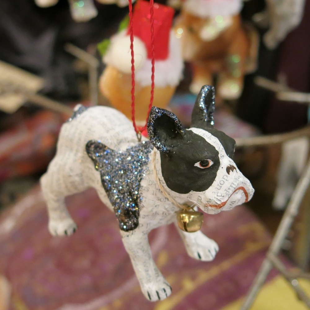 Paper Mache French Bulldog Ornament