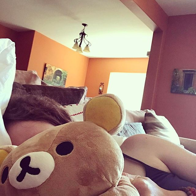When you are sick in bed and have no pets you snuggle this guy #rilakkuma #sickday