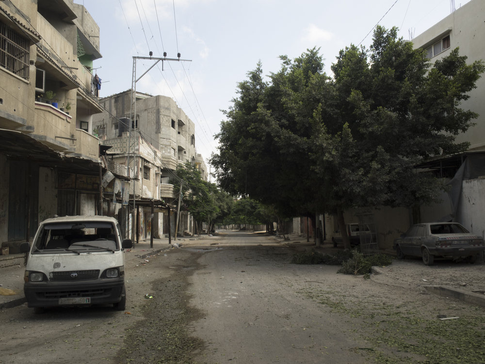 A street in  Shuja'iyya  district after a bombing, Gaza City, July 20, 2014.