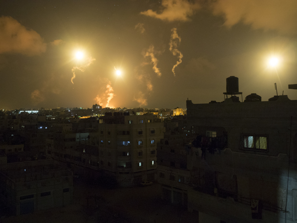 Flare lights on Gaza City, July 18, 2014.