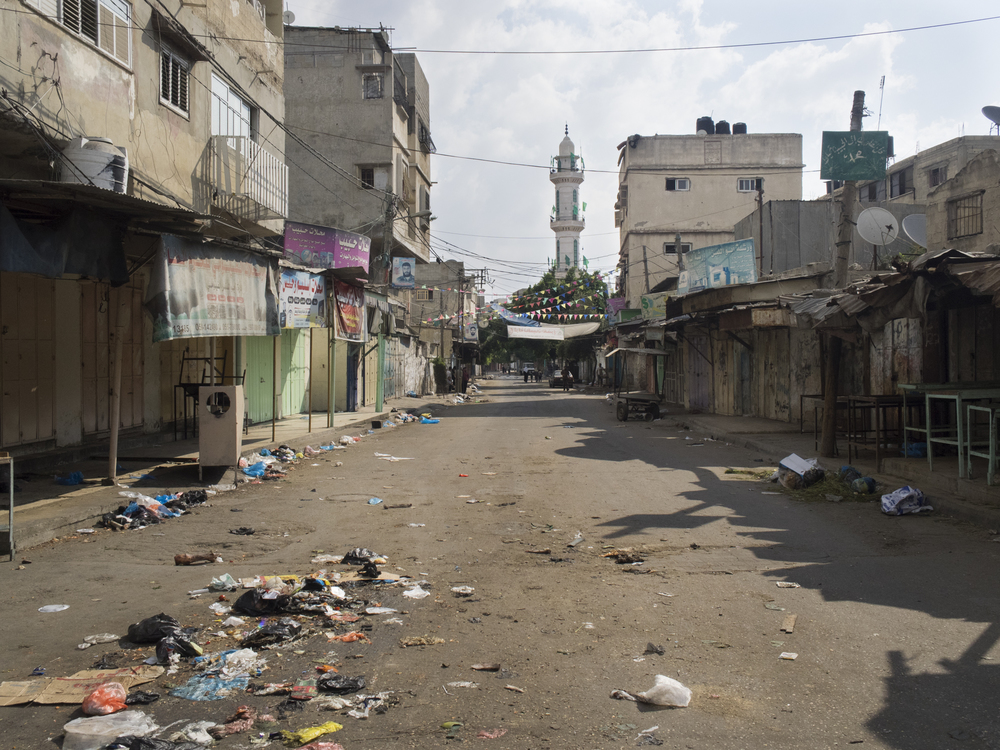 The deserted souk of eastern Shuja'iyya district on the morning the bombing started, Gaza City, July 20, 2014.   During Operation Protective Edge, Israel's offensive against Hamas and other Palestinians resistance organizations, entire neighborhoods were destroyed by Israeli military forces. More than 2000 Palestinians were killed and around 520,000 were displaced by the conflict that lasted for seven weeks.