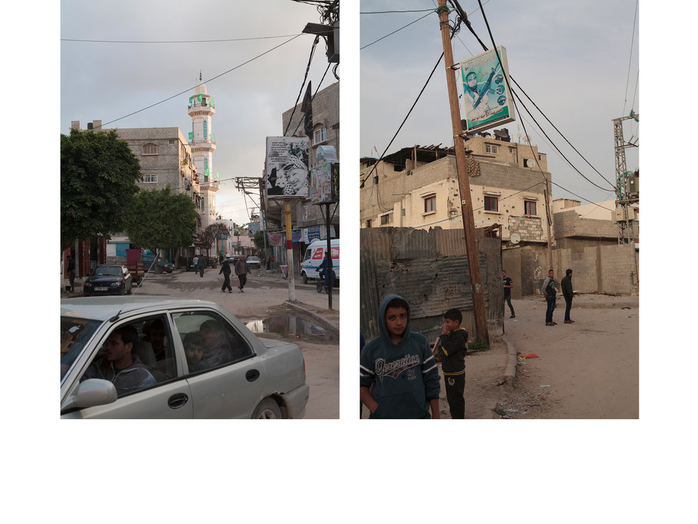 Left: Shuja'iyya, Gaza Strip  Right: Shuja'iyya, Gaza Strip Children play beneath a poster memorialising a Palestinian fighter.