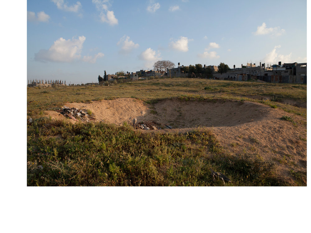 Beit Hannoun, Gaza An impact crater from the 2014 War.