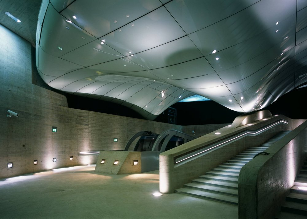 Nordpark Railway Station interior by Zaha Hadid. Photo via  www.zaha-hadid.com