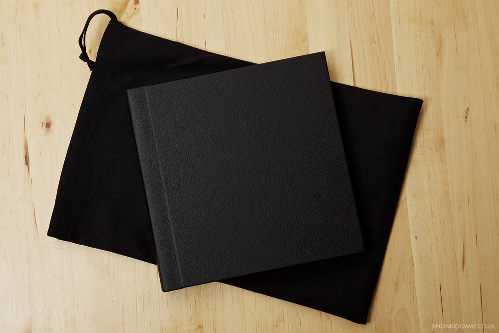 "8x8"" Black leatherette copy album with linen bag"