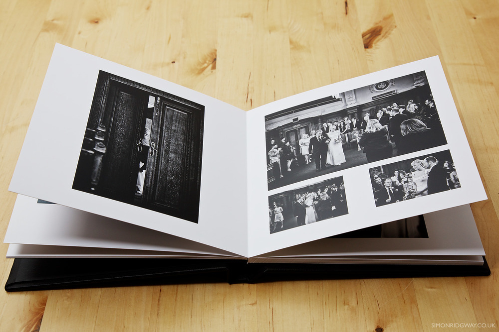 Pages are made up of photographic lustre finish paper glued back to back to form stiff pages