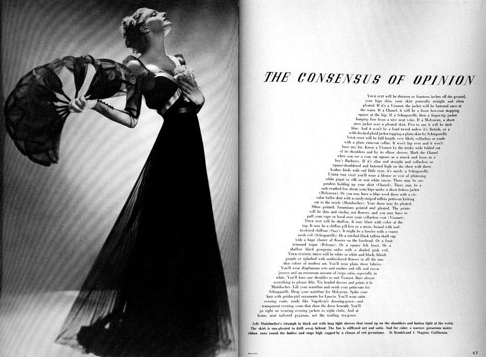 The Consensus of Opinion Article in Harper's Bazaar, Photograph by Man Ray,  March 1936
