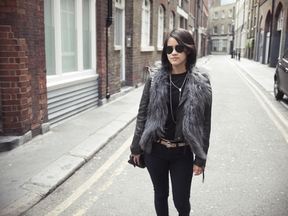 COS knit, Topshop jeans, No brand leather jacket/fur vest, Dolce&Gabbana and COS chains, Mulberry Edie bag, Walter Steiger flats, and Retrosuperfuture sunglasses
