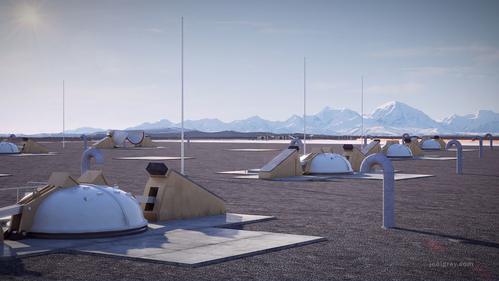 Project:  Concept rendering of missile defense silos in Alaska Contribution:  Concept, 3d modeling, lighting, texturing, matte painting and animation