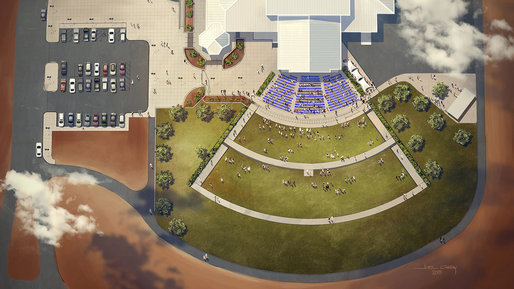 Concept rendering of the Midland County Horseshoe Arena Amphitheater. Digital Rendering by Joel Gray