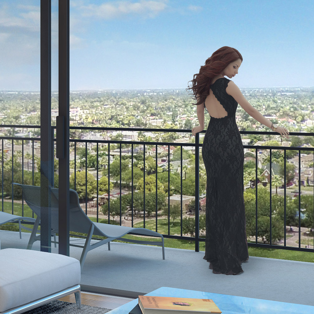 "Detail view of Unit ""L"" balcony with an elegant woman taking in the view beyond."