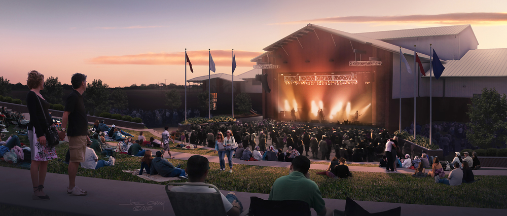 Project: Horseshoe Arena Amphitheatre Concept Rendering Client: Vandergriff Group Architects